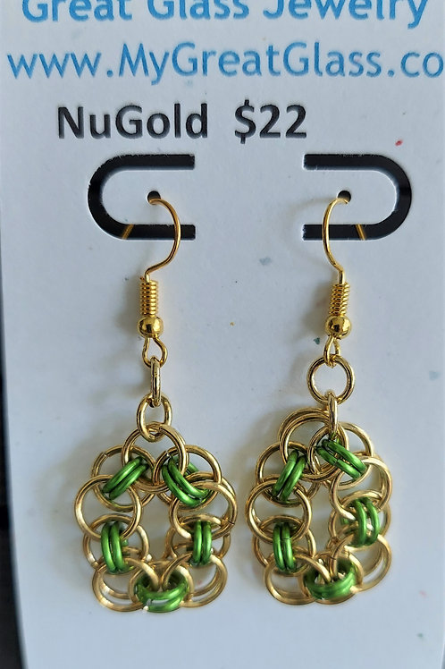 NuGold and green earrings