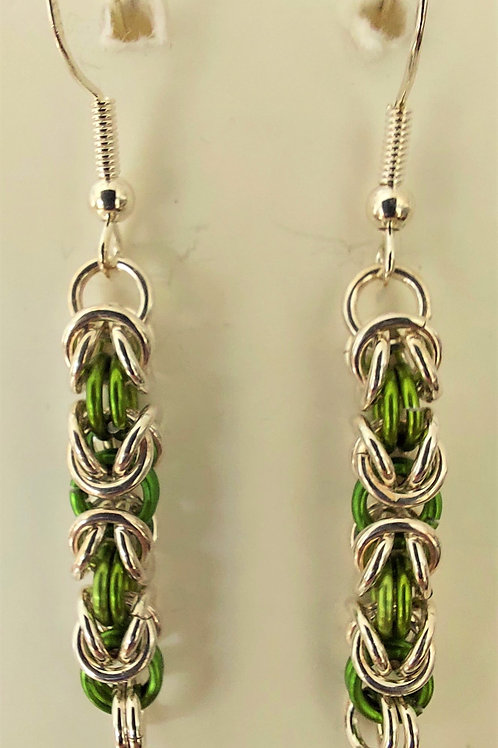Sterling Silver and apple green earrings