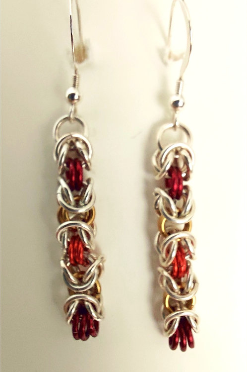 Sterling Silver and  red, yellow, orange earrings