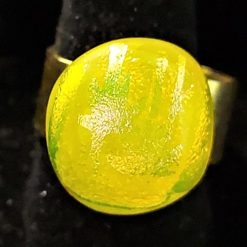 Sunny yellow dichroic glass ring