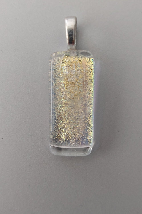 Gold colored dichroic glass pendant