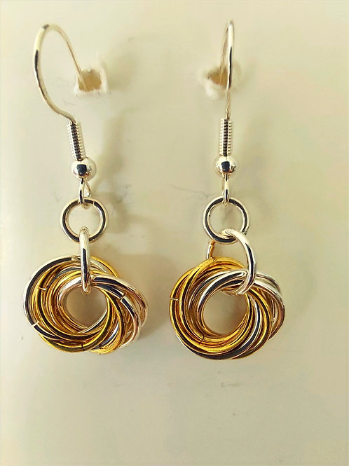 Sterling Silver  and NuGold Rosette earrings