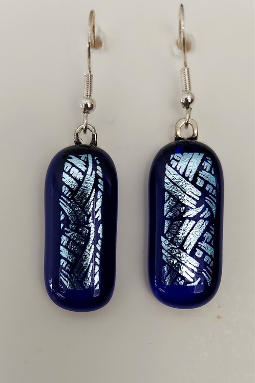 Silvery basketweave earrings
