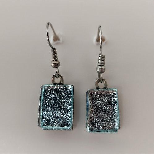 Silver glass earrings