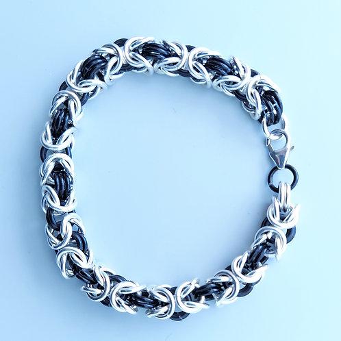 Thick Sterling Byzantine bracelet