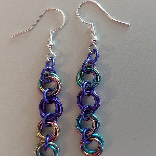 Niobium with purple rosette earrings
