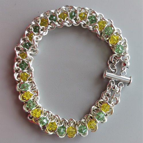 Yellow and Green Swarovski crystals and Silver bracelet