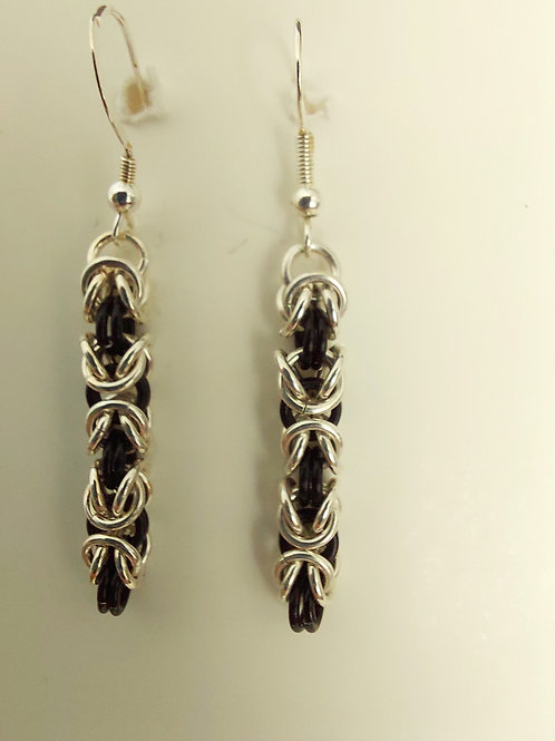 Sterling Silver and black earrings