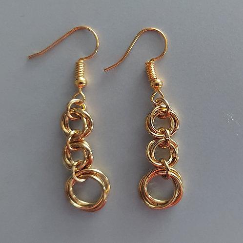 golden graduated Rosette earrings