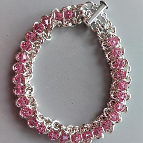 Pink Swarovski crystals and Silver bracelet