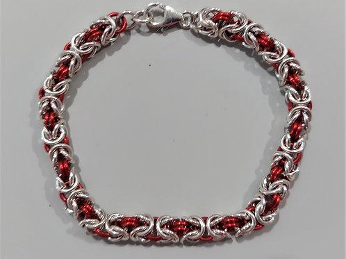 Red and sterling silver Byzantine bracelet