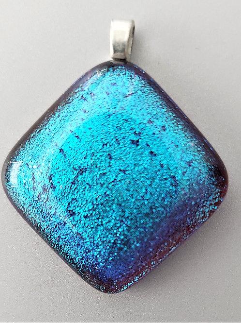 Unique blue glittery dichroic glass pendant