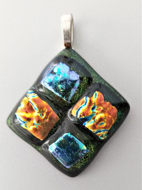Three dimensional dichroic glass pendant