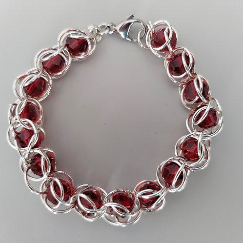Red Swarovski crystals bracelet