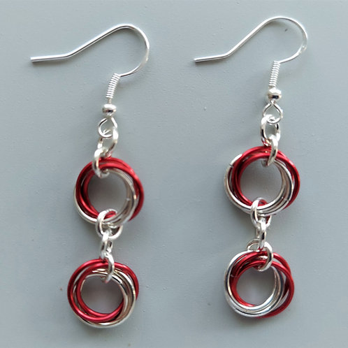 Sterling Silver  and red double Rosette earrings