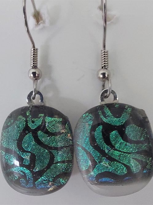 Teal swirl design glass earrings