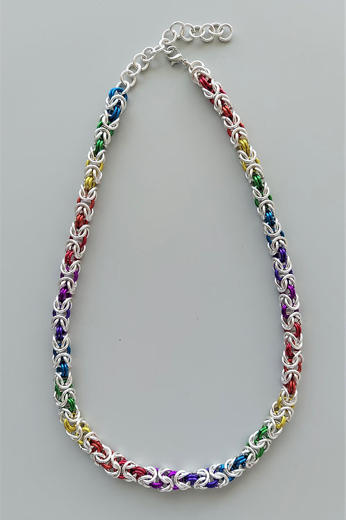 Silver plated copper and  aluminum Byzantine necklace