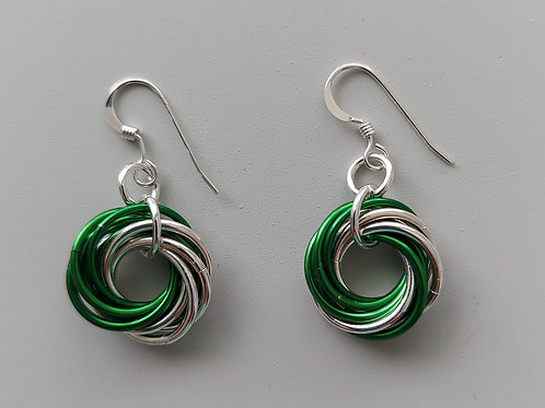 Sterling Silver  and green Love Knot  earrings