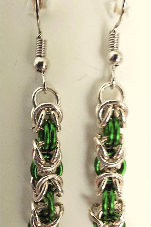 Sterling Silver and green earrings