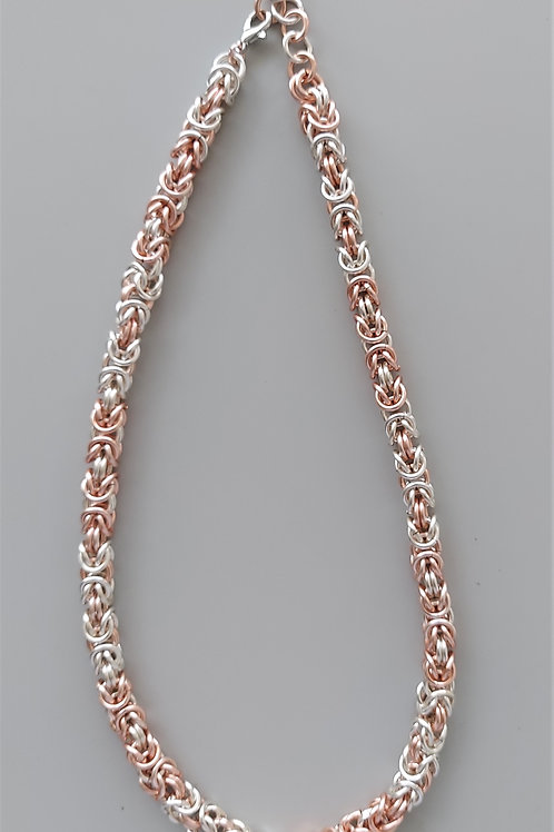 Silver plated copper and  Rose silver enameled copper Byzantine necklace