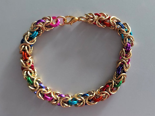Thick colorful Byzantine bracelet