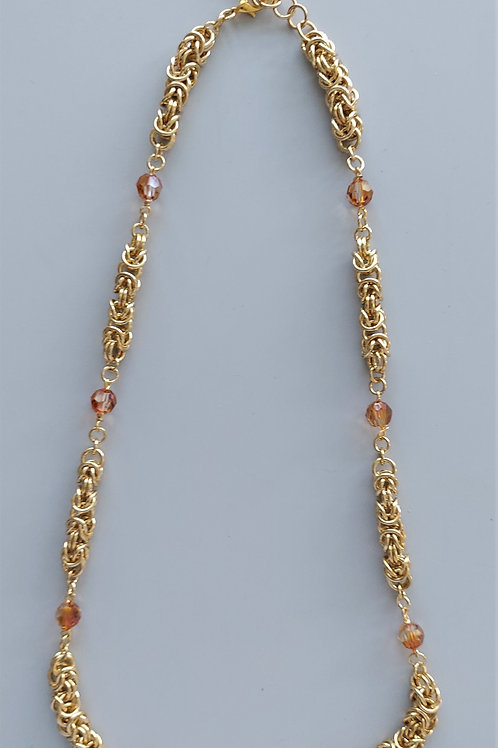NuGold Byzantine and Crystals necklace