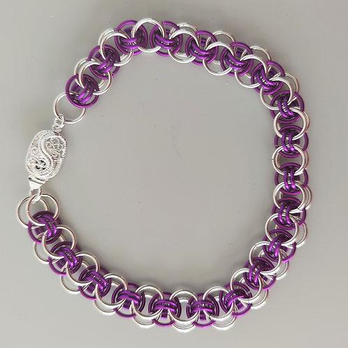Purple and Sterling Silver Helm bracelet