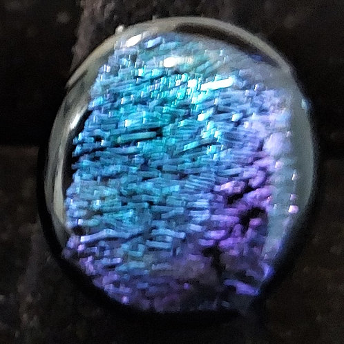 Teal and purple dichroic glass ring