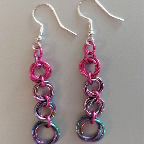 Niobium and pink rosette earrings