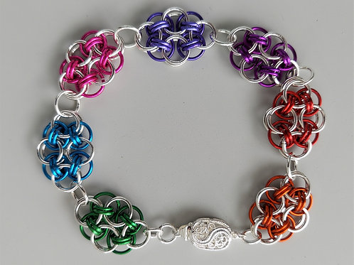 Sterling Silver and multicolored Helm bracelet