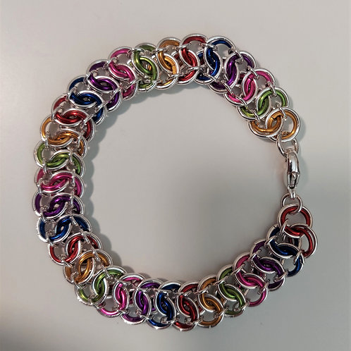 Sterling silver and colored bracelet in Garter weave