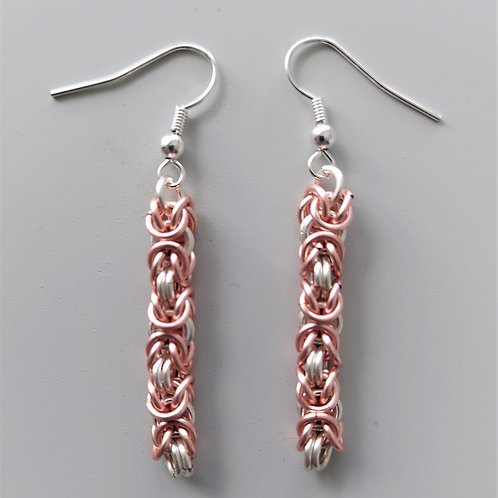 Rose silver enameled copper and Silver Byzantine earrings