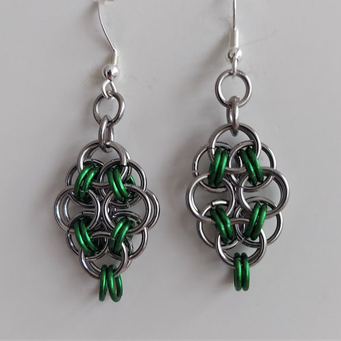Green and Stainless Steel earrings