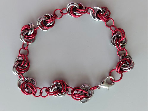 Stainless steel and red Knot bracelet