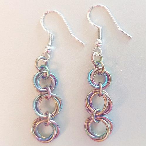 Niobium rosette earrings