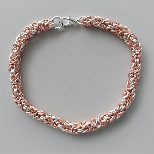 Silver plated copper Byzantine bracelet