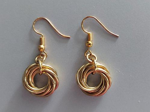 "Golden ""love knot"" earrings"