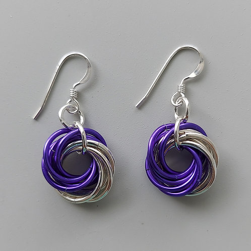 Sterling Silver and purple Love Knot  earrings