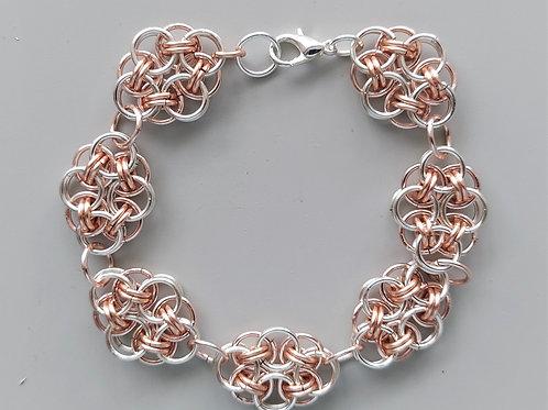 Silver enameled copper Helm bracelet