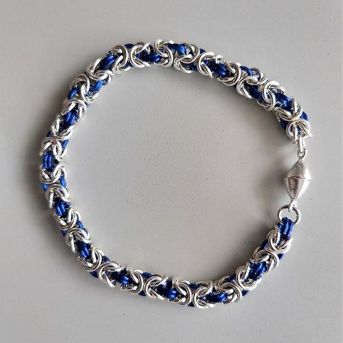 Sterling silver and blue Byzantine bracelet