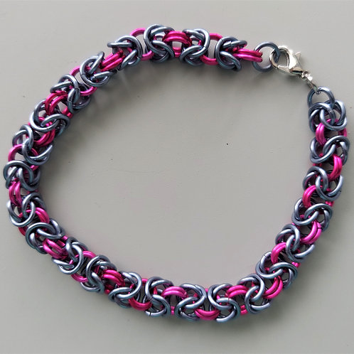 Gunmetal and bright pink thick Byzantine bracelet