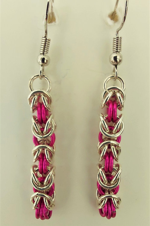 Sterling Silver and pink  earrings