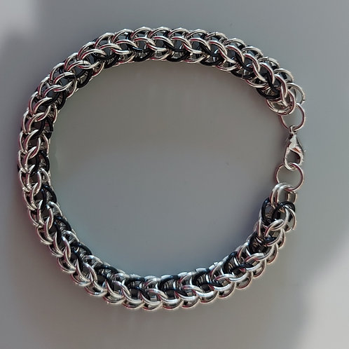 Black and Sterling full Persian bracelet