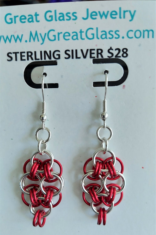 Sterling silver and red earrings