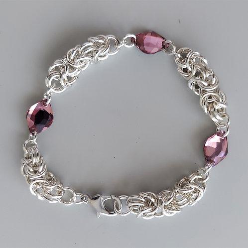 Dusty pink Swarovski crystals and Silver bracelet