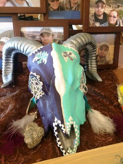 Painted Rams Head