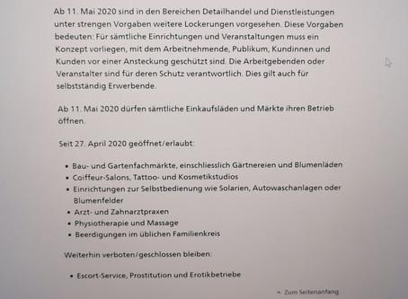 Covid-19 Update Bundesrat  29.April 2020