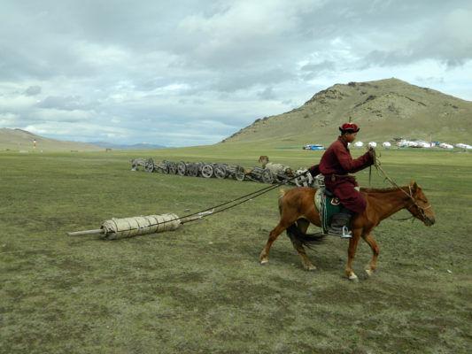 モンゴルの草原を馬で引っ張ります。