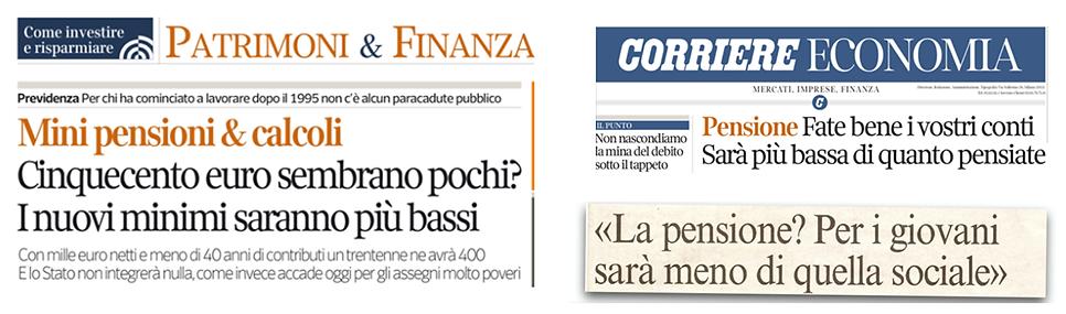 articoli di giornale sulle pensioni