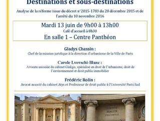 """Colloque 2017 """"Destination et sous destination"""""""